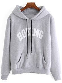Grey Letter Print Pocket Drawstring Hooded Sweatshirt