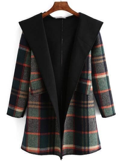 Plaid Shawl Collar Belt Coat