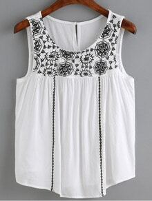 White Flower Embroidered Vest