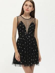 Black Sleeveless Polka Dot Organza Dress