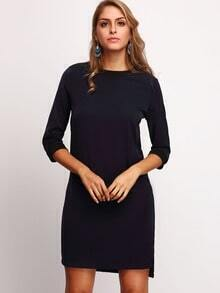 Navy Mock Neck Dip Hem Tunic Dress