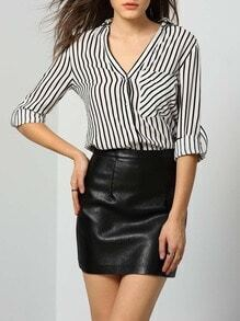 White Lapel Vertical Striped Pockets Blouse