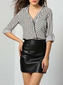 White Lapel Vertical Striped Pockets Blouse