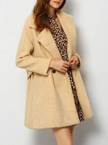 Apricot Notch Lapel Fleece Coat
