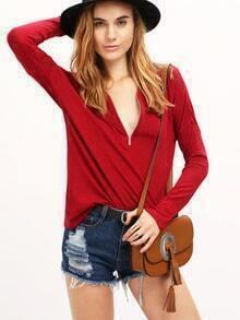 Burgundy V Neck Zipper T-Shirt