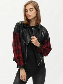 Black Lapel Contrast Red Plaid Sleeve Zipper Jacket