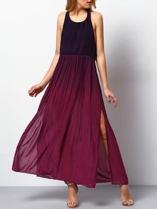 Burgundy Ombre Halter Split Maxi Dress