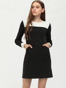 Black White Color Block Contrast Cuffs Pockets Dress