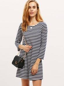 Navy White Crew Neck Button Striped Dress