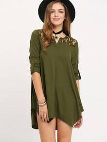 Army Green Lace Embroidered Asymmetrical Dress