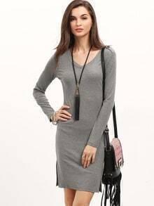 Grey V Neck Side Slit Ribbed Dress