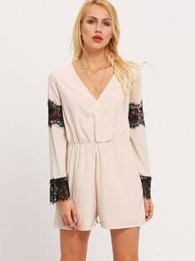 Apricot Wrap Front Contrast Black Lace Playsuit
