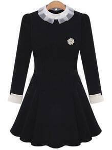Black Contrast Collar Brooch Embellished Slim Dress
