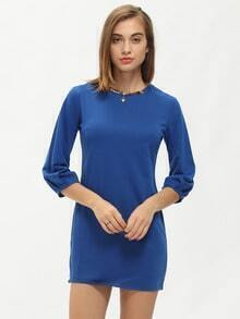 Blue Round Neck Slim Short Dress