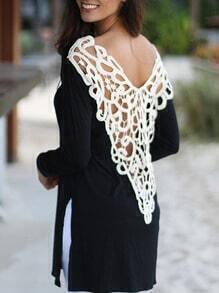Black V Back Crochet Hollow Split Top