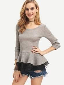 Grey Round Neck Ruffle Slim Top