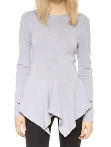 Grey Round Neck Long Sleeve Asymmetrical T-Shirt