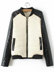 Black Apricot Contrast PU Leather Pockets Coat