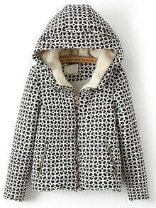 Black White Hooded Zipper Pockets Coat