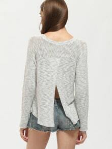 Grey Crew Neck Split Back Sheer T-Shirt