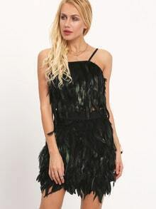 Black Contrast Feather Crop Cami Top With Bodycon Skirt