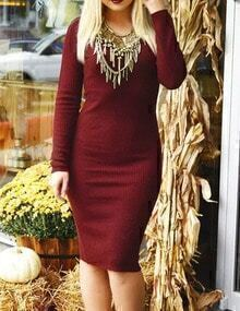 Burgundy V Neck Slim Sweater Dress