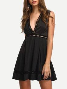 Black Deep V Neck Sleeveless Hollow Dress