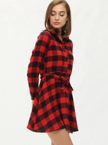 Red Black Lapel Plaid Shirt Dress