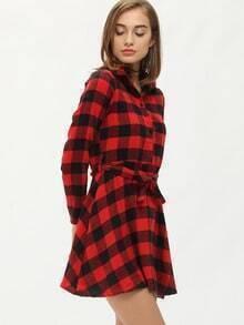 Red Black Lapel Plaid Shirt Dress
