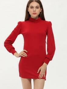 Red High Neck Long Sleeve Slim Bodycon Dress