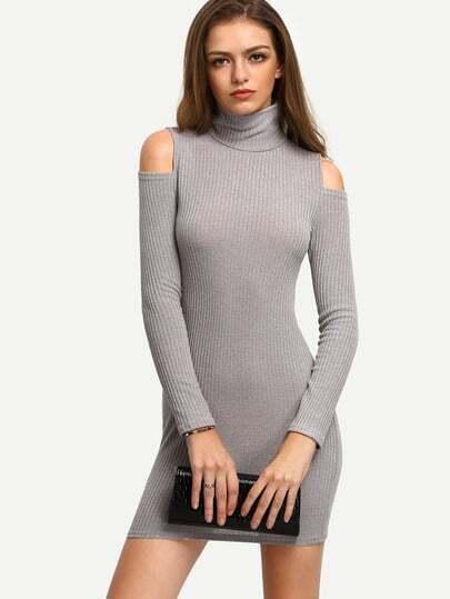 Grey High Neck Cold Shoulder Sweater Dress