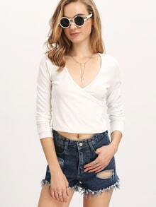 White Deep V Neck Crop T-Shirt