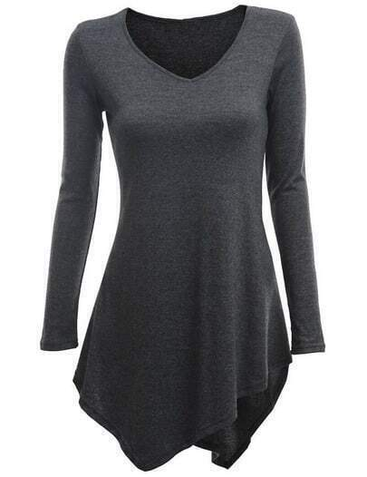 Grey V Neck Long Sleeve Asymmetrical T-Shirt