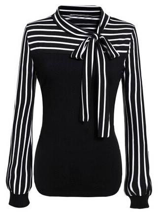 Фото Tie-neck Striped Blouse. Купить с доставкой
