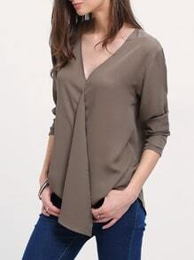 Army Green V Neck Long Sleeve Loose Blouse