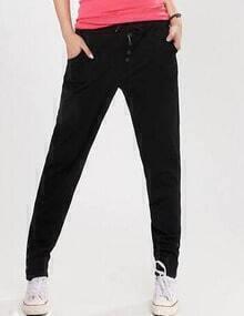 Black Drawstring Waist Buttons Pant