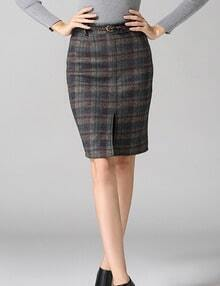 Multicolor Slim Plaid Split Skirt