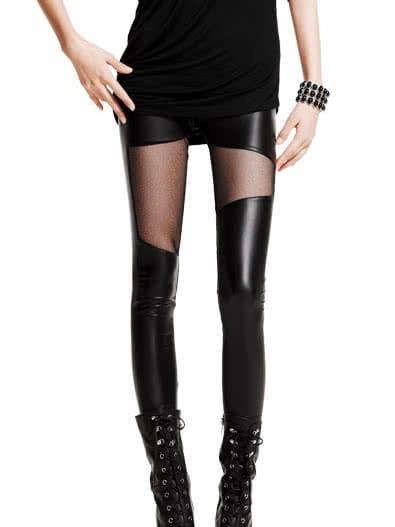 Black Sheer Mesh Leggings -SheIn(Sheinside)
