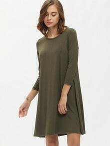 Green Round Neck Tshirt Dress