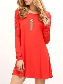 Red Round Neck Plain T-shirt Dress