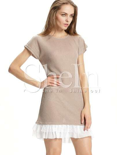 Pink Contrast White Lace Flounce Hem Sweater Dress
