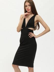 Black Plunge Cut Out Front Sheath Dress