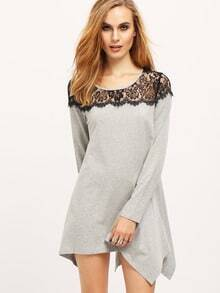 Grey Contrast Black Lace Embroidered Asymmetric T-Shirt