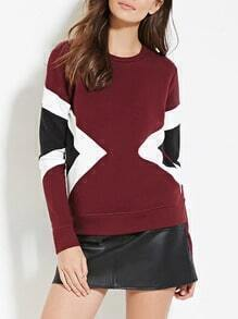 Burgundy Crew Neck Contrast Panels Sweatshirt