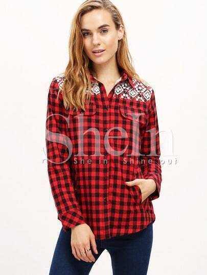 Red Black Plaid Contrast Lace Embroidered Pockets Blouse