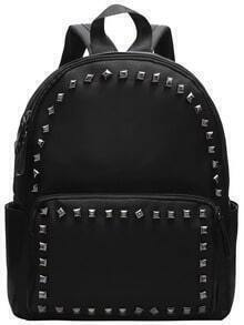 Black Zipper Rivets PU Backpacks