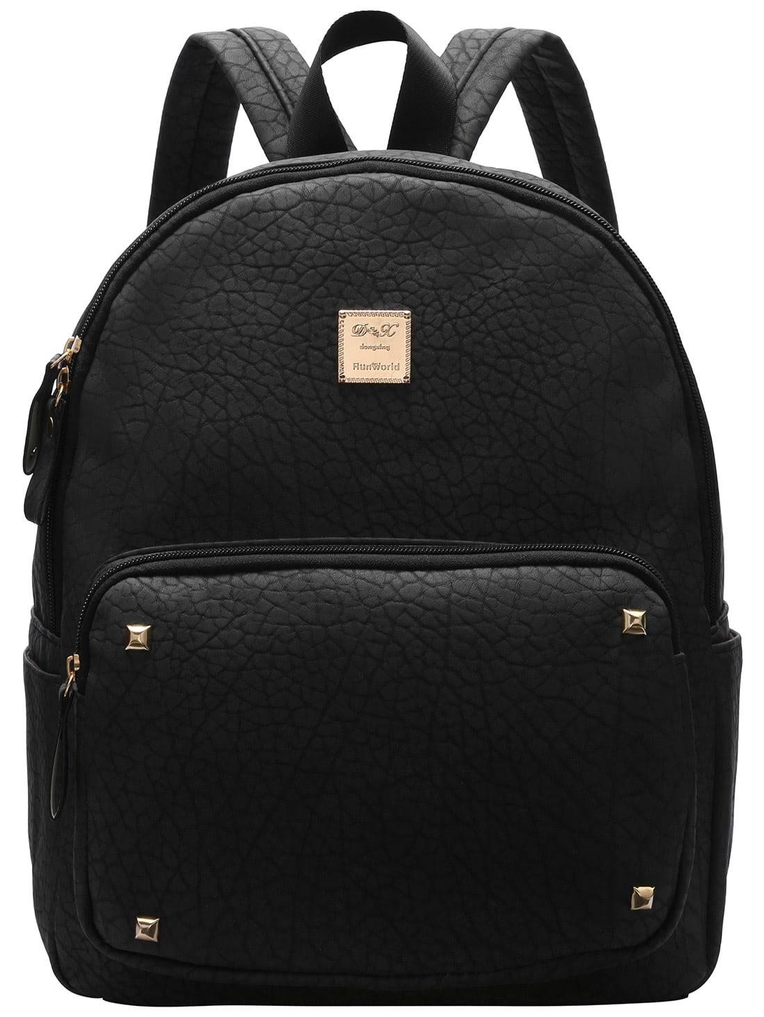 Фото Black Metallic Embellished PU Backpacks. Купить с доставкой