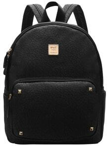 Black Metallic Embellished PU Backpacks -SheIn(Sheinside)