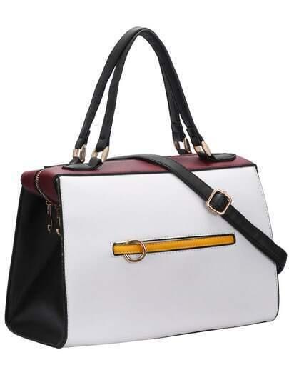 White Zipper PU Shoulder Bag