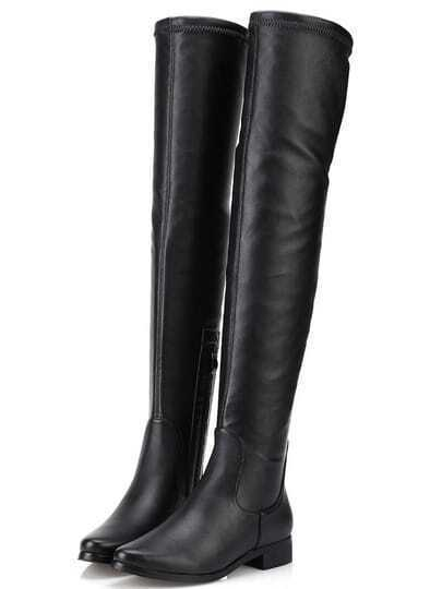 Black Round Toe Zipper Tall PU Boots